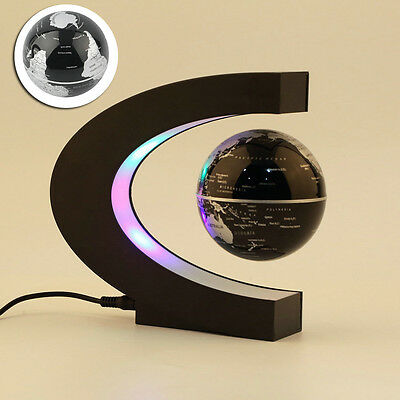 C shaped LED World Map Decoration Magnetic Levitation Floating Globe Light Lamp
