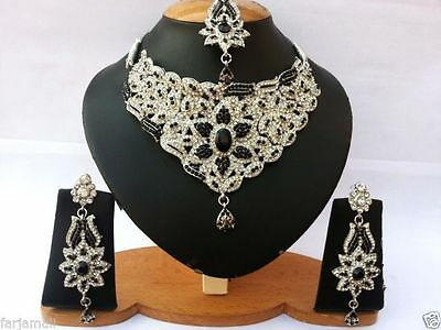 Indian Jewellery Set Silver Plated Black Clear Stones New - Aq/181