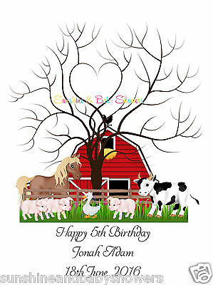 Finger Print Tree FARM ANIMALS Birthday PERSONALISED A3 OR A4 INCLUDES INK