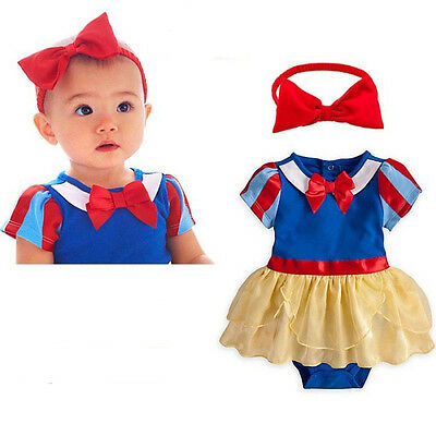 Cute Girl Princess Snow White Baby Short Sleeved Jumpsuit Romper with headband