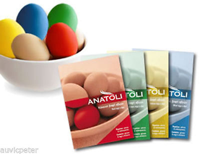 4 Packs ANATOLI Easter Egg's Dye with Gloves and Stickers, Red Green Yellow Blue