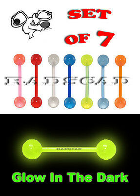 7 x GLOW IN THE DARK FLEXIBLE TONGUE BARBELL BARS 14G BODY PIERCING RING A50