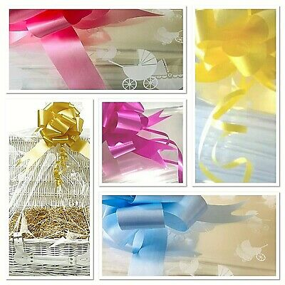 Christmas Cellophane Wrap Large Bag & Bow Snowflake & Clear For Hamper Baskets