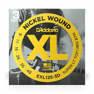 D'addario 3 Sets EXL125 9-46 Light Top Regular Bottom Strings 3 pack nickel