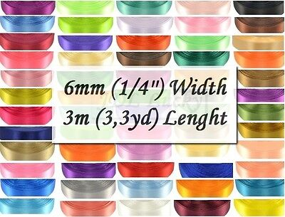 6mm (1/4'') 60 colours SATIN RIBBONS 3m (3,3 yards) Free Delivery