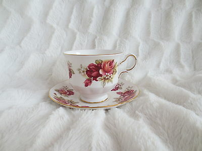 Vintage Queen Anne English Bone China Peach Rose Teacup Saucer Ridgway Potteries