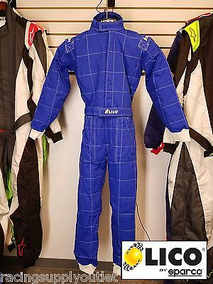 Sparco/Lico  Go Kart Racing Suit FIA  Blue 2 Layer  Size Small  [In the USA]