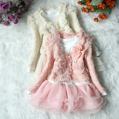 New Girls Winter Frilly Party Jumper Dress & Cardigan Outfit 2 Pcs Set Cream