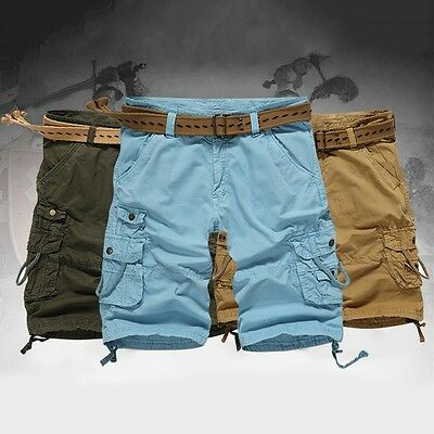 New Men Casual Shorts Baggy Cargo Pants Cotton Military Pockets Trousers No Belt