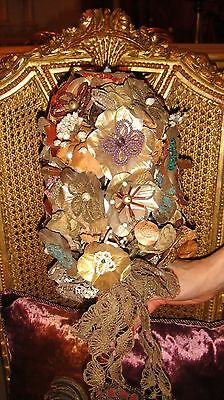 Extraordinary French Hand Made Intricate Beaded Flowers Bouquet Gold Metallic