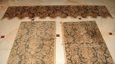 Gorgeous Antique French Velvet Drapes Curtains 2 Panels Plus 1 Valance