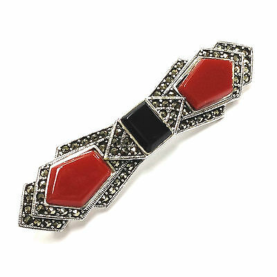 Stunning Art Deco Style Coral Onyx And Marcasite Brooch 925 Sterling Silver
