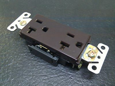 (20 pc) Decorator Duplex Receptacles 20 Amp Brown Self Grounding 20A Outlets