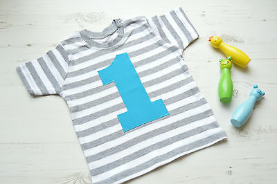 First Birthday Top | 1st Birthday Outfit | Age 1 T-Shirt | Grey Stripy SS Turq 1