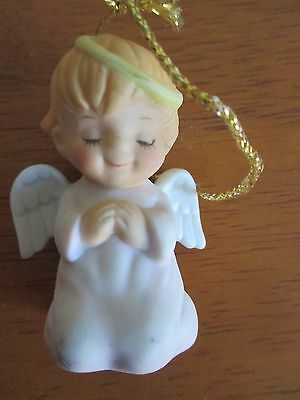 Vintage 1984 Gorham Praying Girl Angel Wings Halo Kneeling Ornament Figurine