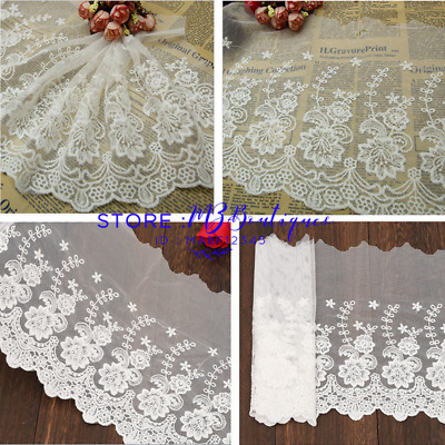 23 cm,1yard Delicate white embroidered flower tulle lace trim Sewing DIY FP132