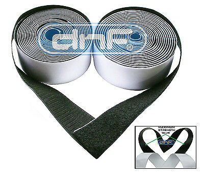 """2"""" Black Self Adhesive Extra Sticky Hook and Loop Tape 5 Yards 15 FT V3 K25"""