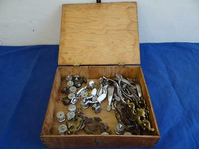Huge Lot of Various Cabinet Knobs Drawer Pulls In An Antique Wooden Box LA2175