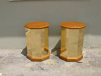 Pair Of 1970'S Faceted Brass And Wood Octagon Tables P