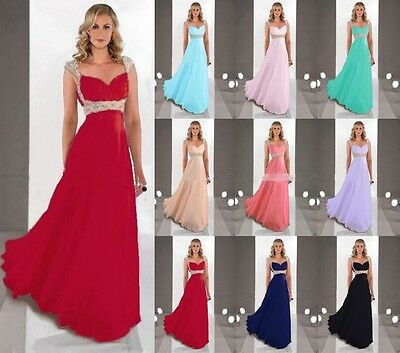 Sexy Long Chiffon Bridesmaid Formal Prom Gown Ball Party Cocktail Evening Dress