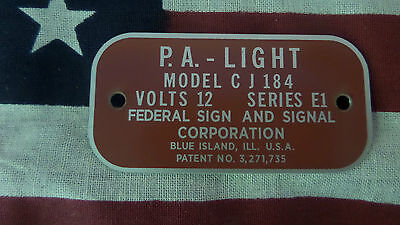 Federal Signal  Model CJ184 Series E1 P.A. Light Replacement Badge