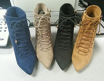 Women's Fashion High Heel Lace-Up Boots Bootie Shoes 5-10