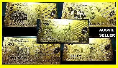 SPECIAL DISCOUNT NZ 24KT GOLD BANKNOTE NEW ZEALAND $5 $10 $20 $50 $100  NOTE Set