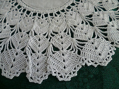 VINTAGE WHITE HAND CROCHETED EDGE WITH WHITE CENTRE DOILEY  20 cms