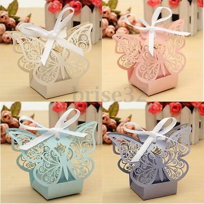 10/50Pcs Paper Butterfly Cut Candy Cake Boxes Wedding Party Gifts Favor Case