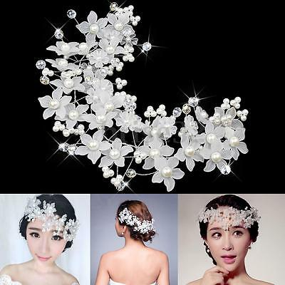 Princess Wedding Bridal Prom Party Pearl Crystal Flower Hair Band Headband Tiara