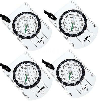 4PCS MINI BASEPLATE COMPASS Military Camping Hiking Lensatic SURVIVAL GEAR C7H1