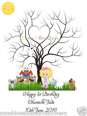 Finger Print Tree NURSERY RHYMES Birthday PERSONALISED A3 OR A4 INCLUDES INK