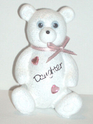 Personalised Girls Teddy Bear Grave Memorial White Graveside Graveyard Ornament