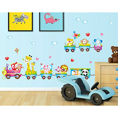 Animals At The Train Wall Stickers For Kids Room Bathroom Home DIY Vinyl Family
