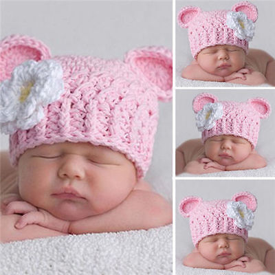 Baby Girl Toddler Infant Winter Kids Warm Knitted Crochet Beanie Hat Pink Cap