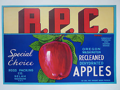 """Vintage  """"rpc"""" Dehydrated  Washinton Apples  Box--Crate Label"""