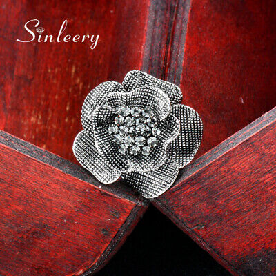 Big Vintage Jewelry Cubic Zirconia Flower Rings Adjustable Antique Silver Plated