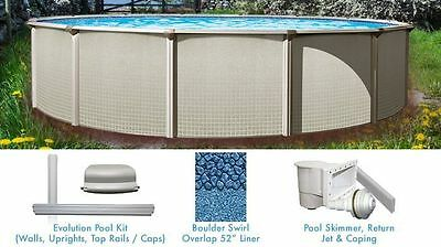 Esprit 12 ft Round Above Ground Swimming Pool with Liner and Skimmer