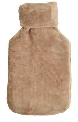 Deluxe Fluffy Faux Fur Plush Classic Roll Neck CAMEL 2L Hot Water Bottle & Cover
