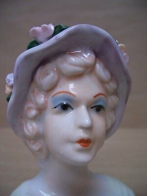 Vintage Lady Girl Head Vase With Floppy Hat and Flowers. Pink Yellow Flowers NR