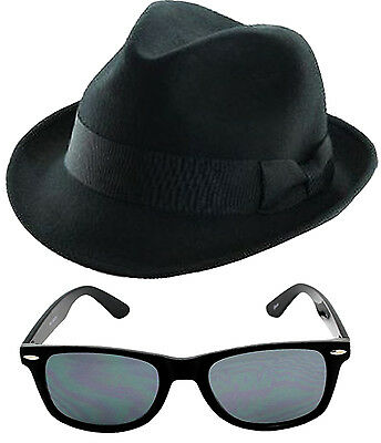 Blue Brothers 2 Pcs 1980's Hat Glasses Party Fancy Dress Costume Set