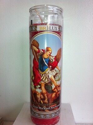 Arch Angel Saint Michael 7 Day Unscented Red Candle In Glass ( San Miguel )