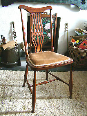 Arts and Crafts Nouveau Bedroom Hall Chair Lovely colour Pad Feet Wavy Backslat