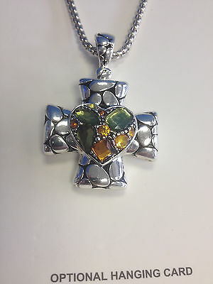 CROSS PENDANT NECKLACE & EARRINGS w/ SPARKLING COLORFUL STONES WOMENS SET PRETTY