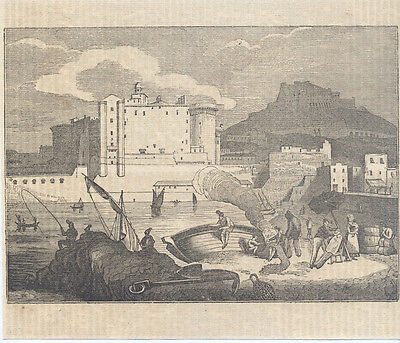 Neapel alter Holzstich Druck 1839 Italien Italy printing engraving