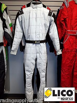 Sparco/Lico  Go Kart Racing Suit FIA Silver/Black  Size Medium 52 [In the USA]