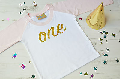 Girls First Birthday Top | 1st Birthday Outfit | Pink Raglan Gold Glitter One
