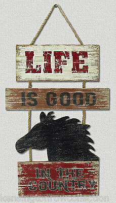 """Wall Art - """"life In The Country"""" Equestrian Wall Sign - Wall Decor - Horses"""