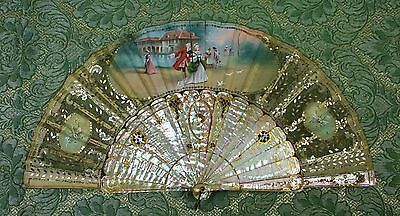 Fan. Pearl Carved And Gilded. Painted Silk. Case In Wood. Spain Xix.