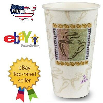 Dixie PerfecTouch Insulated Paper Cups 16 oz 50 Cups Tumbler Mug Coffee Theme FS